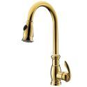 Gold Single Hole Single Handle Kitchen Mixer Tap Ti-PVD Pulling Faucet