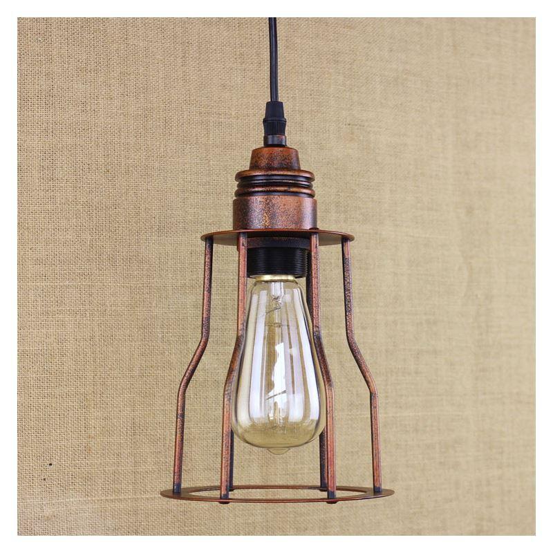Antique Copper 1 Light Iron Cage Mini Hanging Pendant With