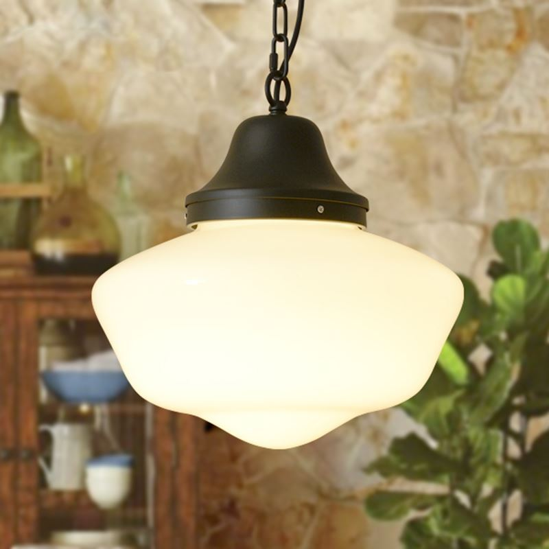 Glass Pendant Light Matte Black 1 Light Schoolhouse Glass
