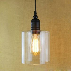 Glass Pendant Light Matte Black 1 Light Cylinder Glass Shade Mini Pendant Light