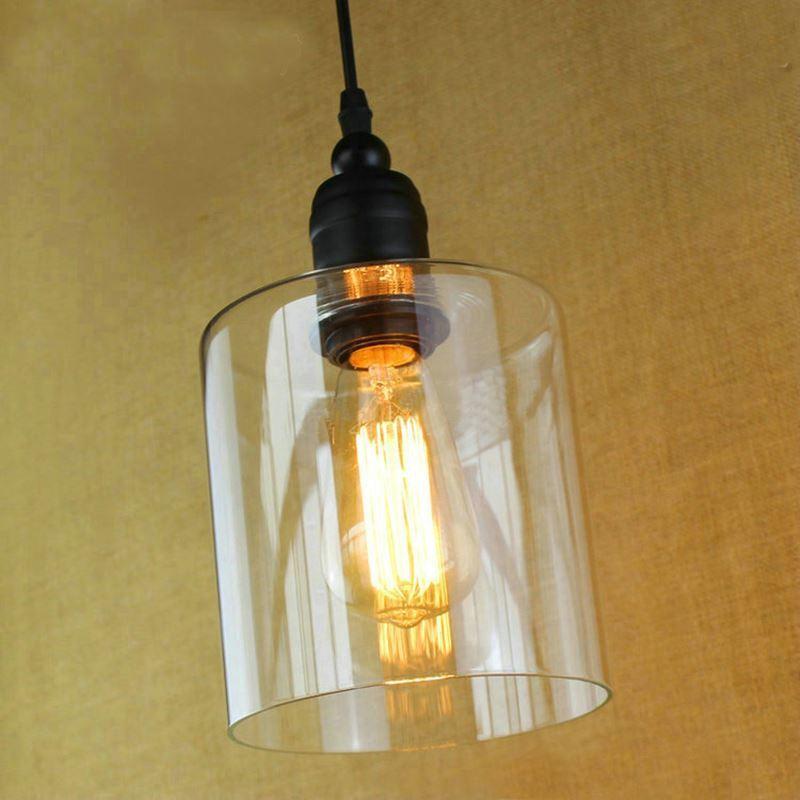 Glass Pendant Light Matte Black 1 Light Cylinder Glass