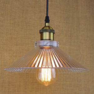 Water Glass Cone Shade 1 Light Mini Pendant Light in Brass Finish
