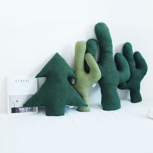 Nordic Wool Comfortable Creative Shaped Pillow Cover Cactus Cedar Pillow Cover Group(4 piece)