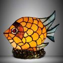 Vintage Orange Fish Shape 9 Inch Mini Kids Room Night Lamp in Stained Glass Style