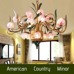 European Style Retro Iron Purple Lotus Glaze Shade 20 Lights LED Chandeliers Energy Saving