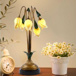 European Style Retro Iron Gold Tulip Glaze Shade 5 Lights LED Table Lamp Energy Saving