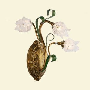 European Style Retro Sconce Iron White Lotus Glaze Shade 3 Lights LED Wall Light Energy Saving