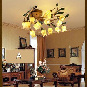 European Style Retro Iron Gold Tulip/Purple-red Lily Glaze Shade 15 Lights LED Flush Mounts Energy Saving