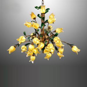 European Style Retro Iron Gold Tulip Glaze Shade 27 Lights LED Chandeliers Energy Saving
