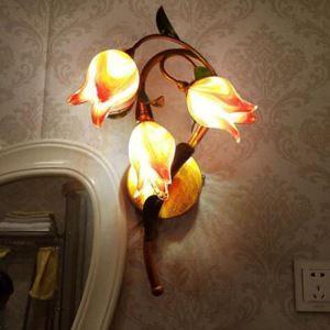European Style Retro Sconce Iron Purple-red Tulip Glaze Shade 3 Lights LED Wall Light Energy Saving
