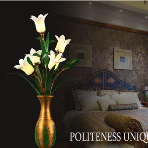 European Style Retro Iron White Lily Glaze Shade 5 Lights LED Table Lamp Energy Saving