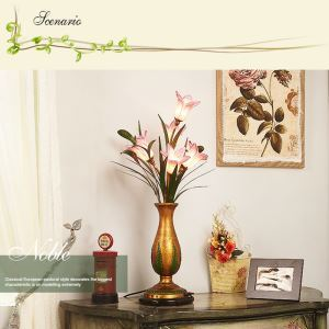 European Style Retro Iron Purple-red Lily Glaze Shade 5 Lights LED Table Lamp Energy Saving