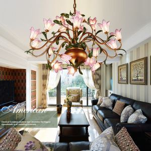 European Style Retro Iron Purple-red Lily Glaze Shade 20 Lights LED Chandeliers Energy Saving