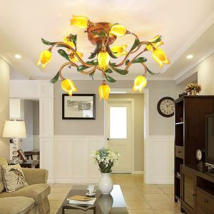 European Style Retro Iron Gold Tulip Glaze Shade 12 Lights LED Flush Mounts Energy Saving