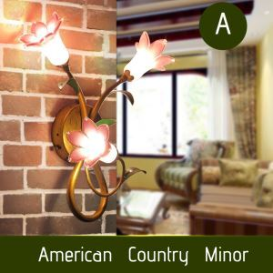 European Style Retro Sconce Iron Purple-red Lily Glaze Shade 3 Lights LED Wall Light Energy Saving