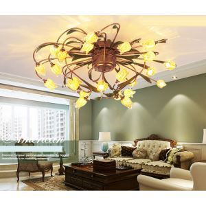 European Style Retro Iron Gold Tulip Glaze Shade 24 Lights LED Flush Mounts Energy Saving