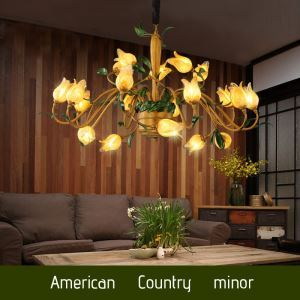 European Style Retro Iron Gold Tulip Glaze Shade 20 Lights LED Chandeliers Energy Saving