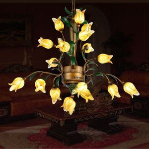 European Style Retro Iron Gold Tulip Glaze Shade 18 Lights LED Chandeliers Energy Saving