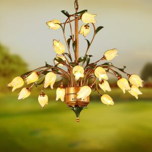 European Style Retro Iron Gold Tulip Glaze Shade 21 Lights LED Chandeliers Energy Saving