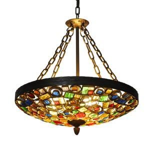 European Style Colorful Glaze Lampshade Iron Material 4 Lights Pendant Light