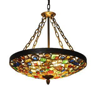 European Style Colorful Glaze Lampshade Iron Material 4 Lights Pendant Light