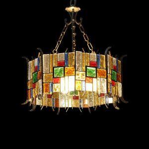 European Style Colorful Glaze Lampshade Iron Material 5 Lights Pendant Light