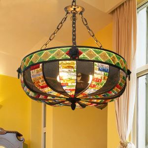 European Style Colorful Glaze Lampshade Iron Material 3 Lights Pendant Light