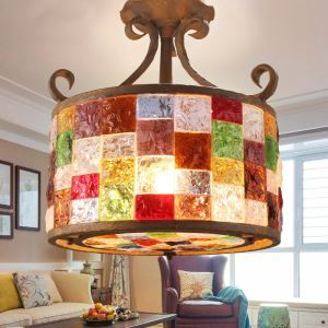 European Style Colorful Glaze Lampshade Iron Material 3 Lights Pendant Light