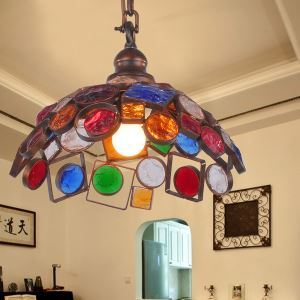 European Style Colorful Glaze Lampshade Iron Material Pendant Light
