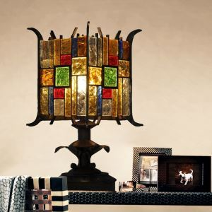 European Style Colorful Glaze Lampshade Iron Material Table Lamp