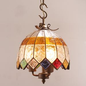 European Style Colorful Glaze Lampshade Iron Material 2 Lights Pendant Light Diameter 30cm Lampshade