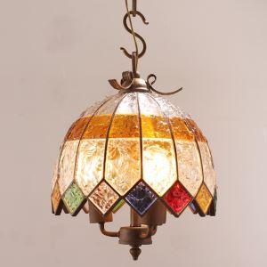European Style Colorful Glaze Lampshade Iron Material 2 Lights Pendant Light Diameter 30cm Lampshade