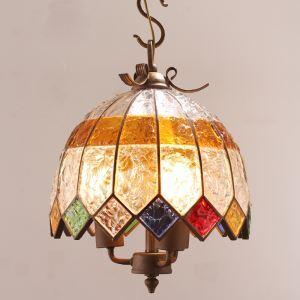 European Style Colorful Glaze Lampshade Iron Material 3 Lights Pendant Light Diameter 40cm Lampshade