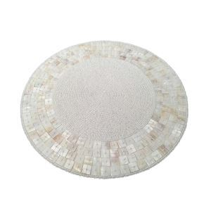 Handmade Beaded White Shell Glass Bead High End Placemat