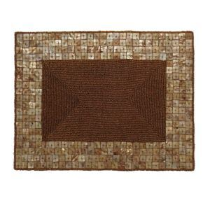 Handmade Placemat Beaded Coffee Glass Bead Shell Edge High End Luxury Rectangle Placemat