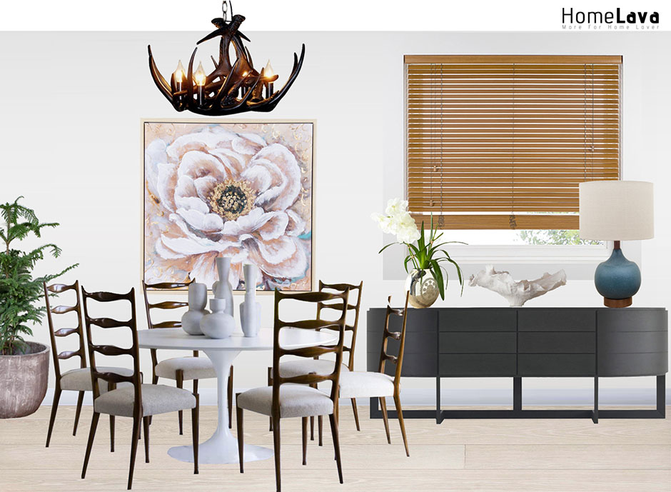Example of a transitional dining room