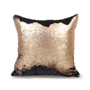 Mermaid Two Colors Sequins Magic DIY Inverted Flip Change Color Pillow Cover Holiday Car KTV Night Club Bar Pillow Cover Black + Matte Gold