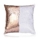 Mermaid Sequins Pillow Cover Inverted Flip Change Color Pillow Cover Champagne + White