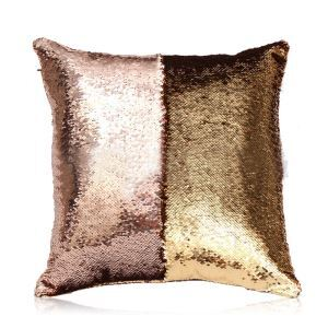 Mermaid Two Colors Sequins Magic DIY Inverted Flip Change Color Pillow Cover Holiday Car KTV Night Club Bar Pillow Cover Champagne + Gold