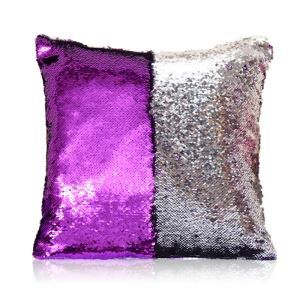 (In Stock) Mermaid Sequins Pillow Cover Magic DIY Inverted Flip Change Color Pillow Case Throw Pillows Decorative Cushion Case Purple + Silver