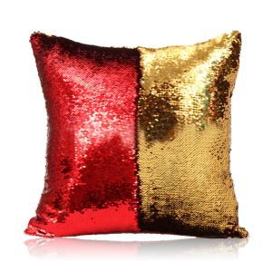 Mermaid Two Colors Sequins Magic DIY Inverted Flip Change Color Pillow Cover Holiday Car KTV Night Club Bar Pillow Cover Red + Gold