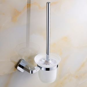 Modern Simple Style Bathroom Products Bathroom Accessories Copper Art Chrome Color Toilet Brush Holder
