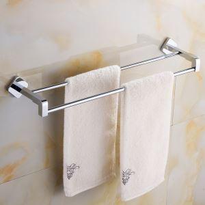 Modern Simple Style Bathroom Products Bathroom Accessories Copper Art Chrome Color Double Rod Towel Bar