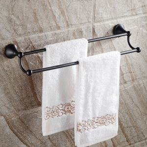 European Style Bathroom Products Bathroom Accessories Copper Art Black Retro Double Rod Towel Bar
