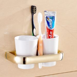 Modern Simple Style Bathroom Products Bathroom Accessories Copper Art Gold Double Cup Toothbrush Cup Holder