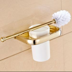 Modern Simple Style Bathroom Products Bathroom Accessories Copper Art Gold Toilet Brush Holder