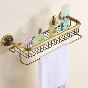 European Retro Style Bathroom Products Bathroom Accessories Copper Art Bath Shelf(Two Types)