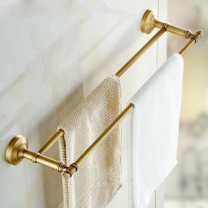 European Retro Style Bathroom Products Bathroom Accessories Copper Art Double Rod Towel Bar