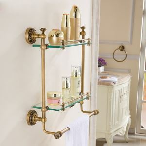 European Brass Bathroom Shelf Bathroom Accessories Copper Art Double Layers