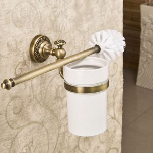 Brass Toilet Brush Holder Wall Mount Bathroom Accessories Copper Art Toilet Brush Holder(Two Types)